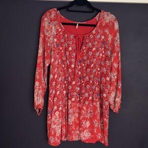 Free People Red Flower Print Dress